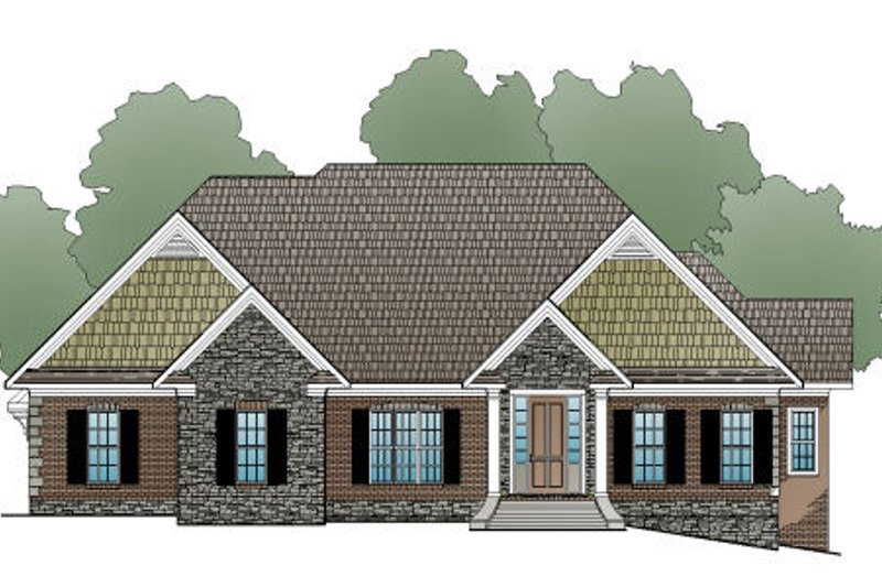 European Style House Plan - 4 Beds 3.5 Baths 4145 Sq/Ft Plan #123-110 Exterior - Front Elevation