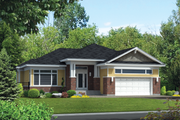 Prairie Style House Plan - 3 Beds 2 Baths 1637 Sq/Ft Plan #25-4460 Exterior - Front Elevation