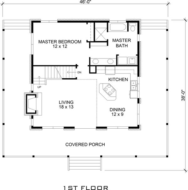 Architectural House Design - Main Level Floor Plan - 1500 square foot Country home