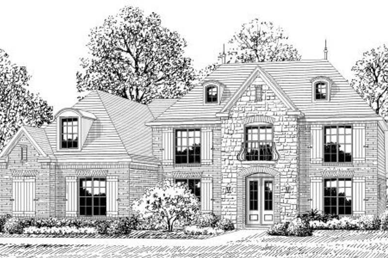 European Style House Plan - 5 Beds 3.5 Baths 3842 Sq/Ft Plan #424-326 Exterior - Front Elevation