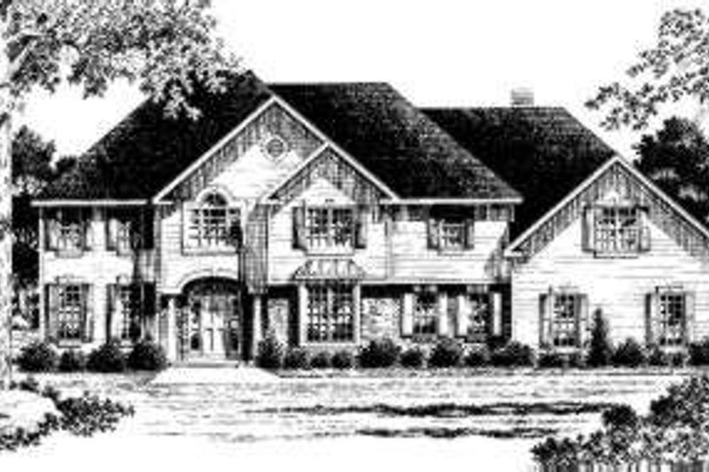Colonial Style House Plan - 4 Beds 3.5 Baths 3746 Sq/Ft Plan #328-124 Exterior - Front Elevation