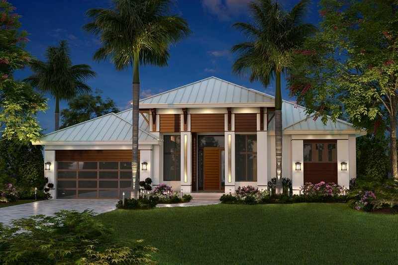 Home Plan - Contemporary Exterior - Front Elevation Plan #27-551