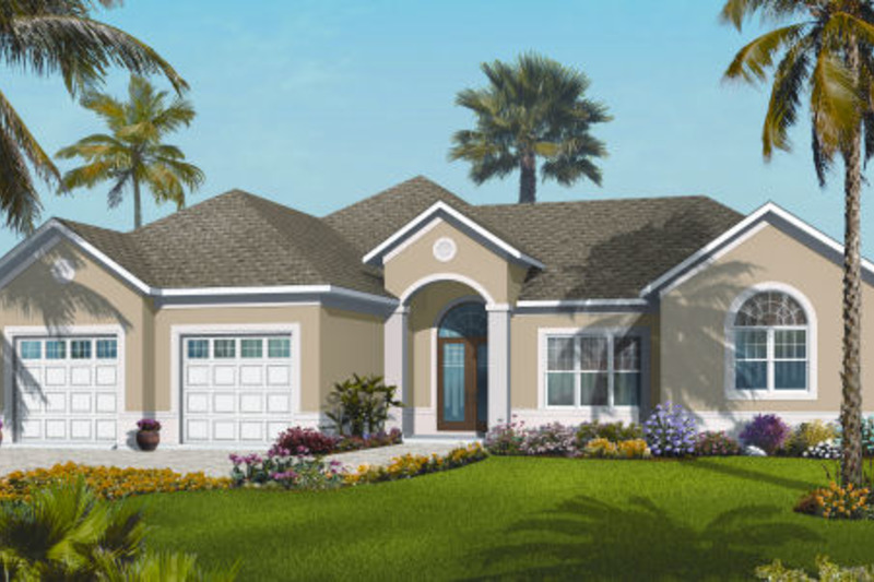 Mediterranean Exterior - Front Elevation Plan #23-2224