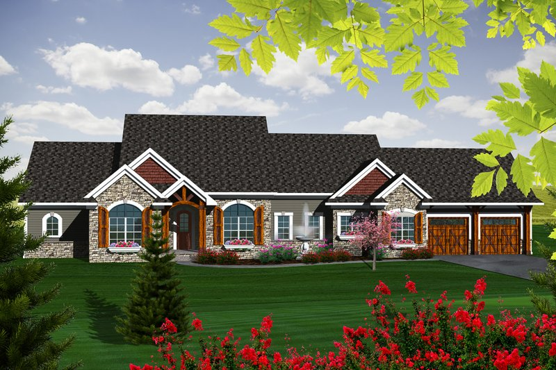 Ranch Exterior - Front Elevation Plan #70-1140