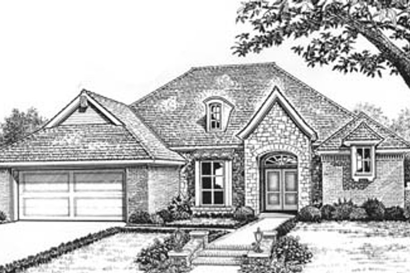 European Style House Plan - 3 Beds 2 Baths 1840 Sq/Ft Plan #310-581 Exterior - Front Elevation