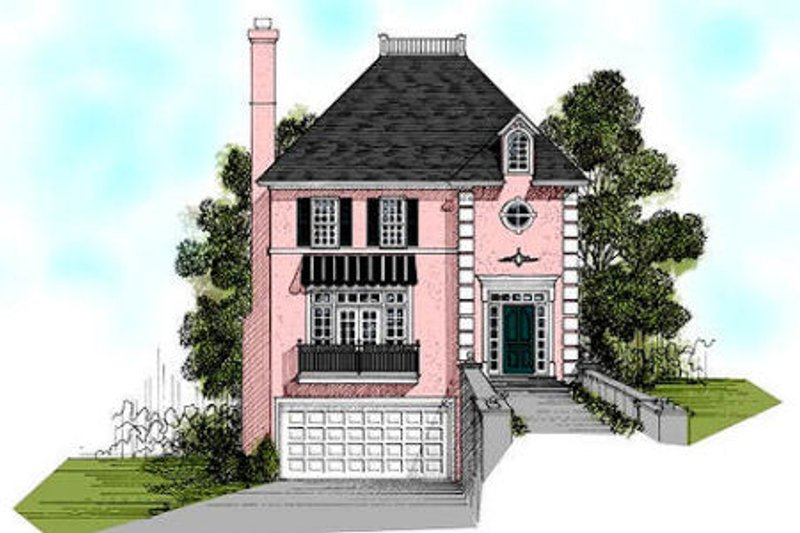 European Exterior - Front Elevation Plan #56-155