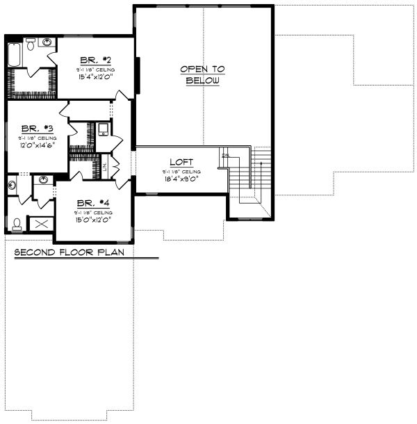 Craftsman Floor Plan - Upper Floor Plan Plan #70-1292