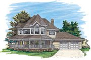 Victorian Style House Plan - 4 Beds 2.5 Baths 2459 Sq/Ft Plan #47-292 Exterior - Front Elevation