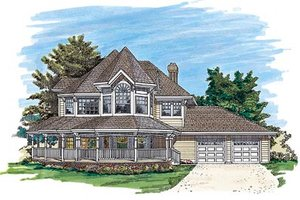 Victorian Exterior - Front Elevation Plan #47-292