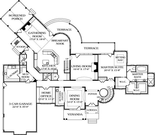 European Floor Plan - Main Floor Plan Plan #453-23