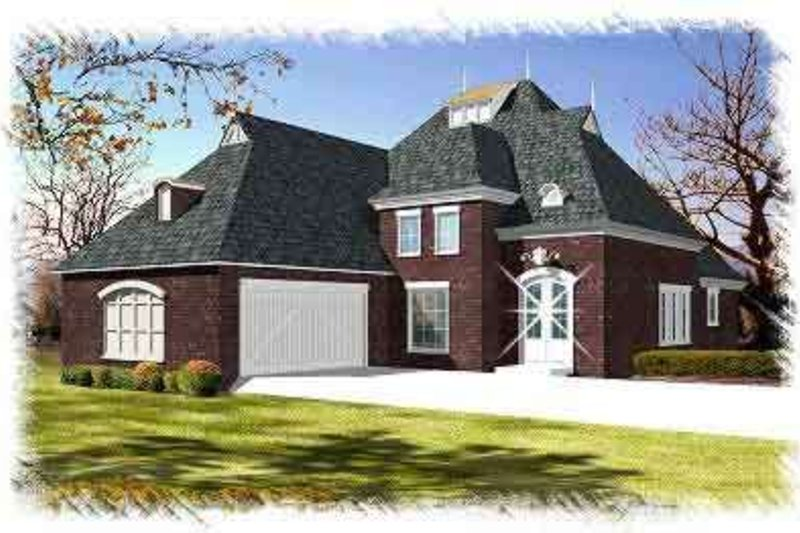 European Exterior - Front Elevation Plan #15-285