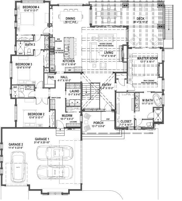 Dream House Plan - Farmhouse Floor Plan - Main Floor Plan #1069-20