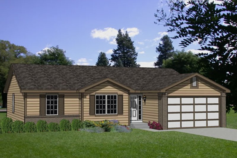 Ranch Style House Plan - 4 Beds 2 Baths 1510 Sq/Ft Plan #116-141 Exterior - Front Elevation