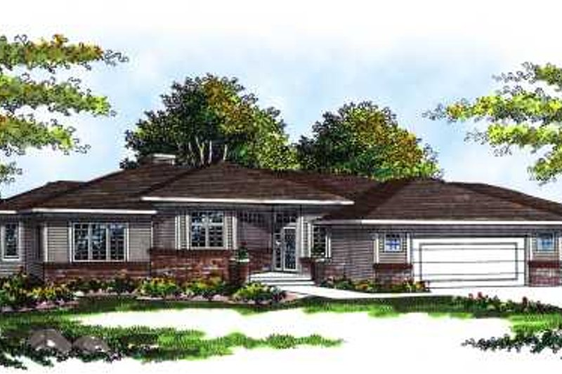 Prairie Style House Plan - 3 Beds 2 Baths 1947 Sq/Ft Plan #70-252 Exterior - Front Elevation