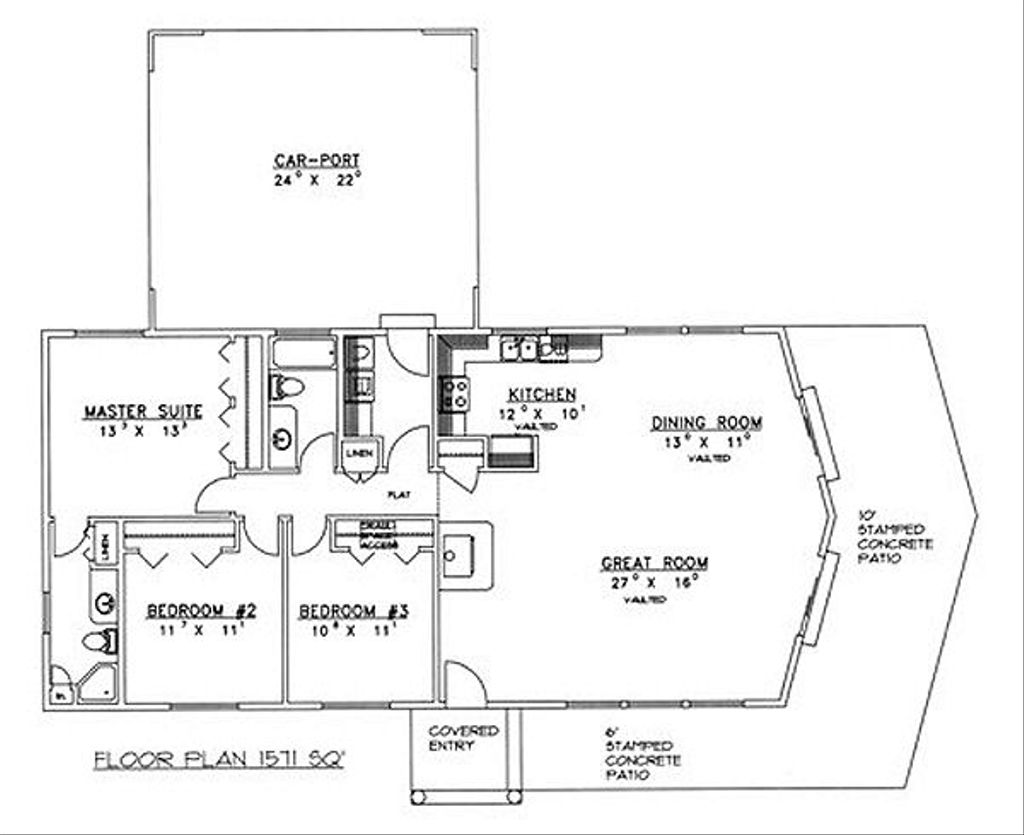 Ranch style house plan 3 beds 2 baths 1571 sq ft plan for 528 plan