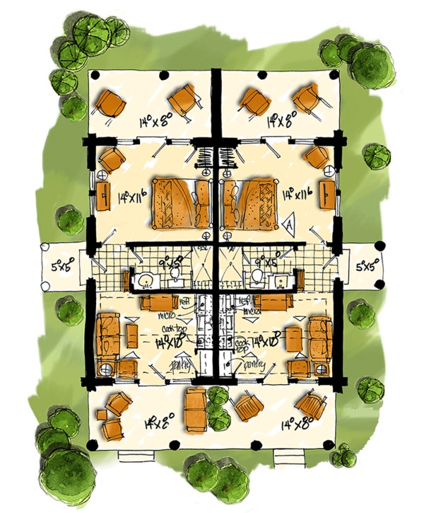 Log Floor Plan - Main Floor Plan Plan #942-51