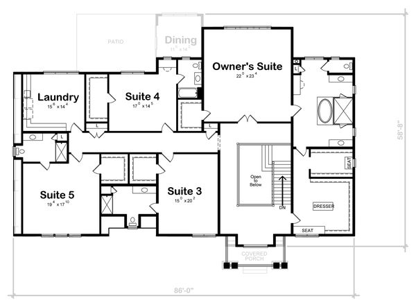 Classical Floor Plan - Upper Floor Plan Plan #20-2385