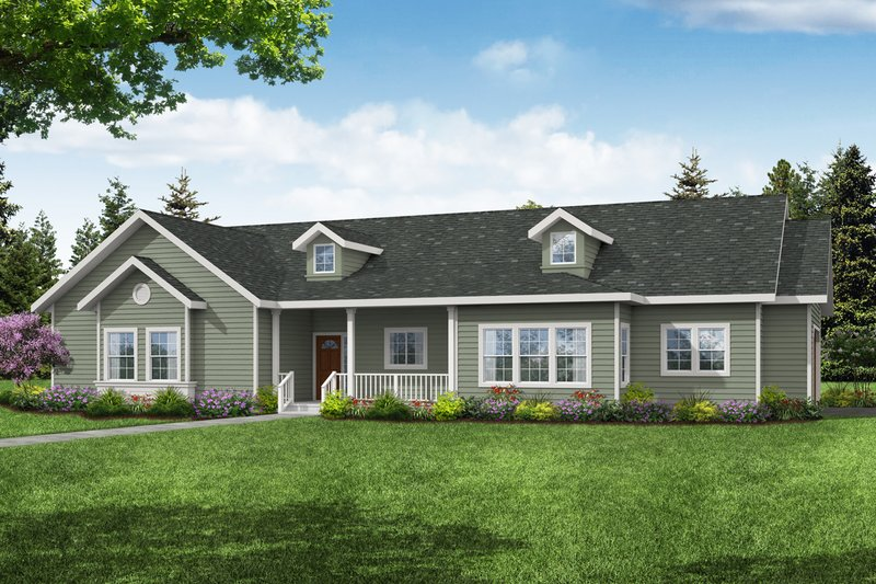 Ranch Exterior - Front Elevation Plan #124-1209
