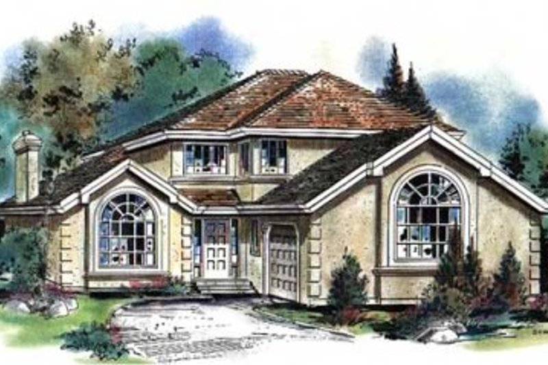 European Style House Plan - 4 Beds 3 Baths 2038 Sq/Ft Plan #18-9044 Exterior - Front Elevation