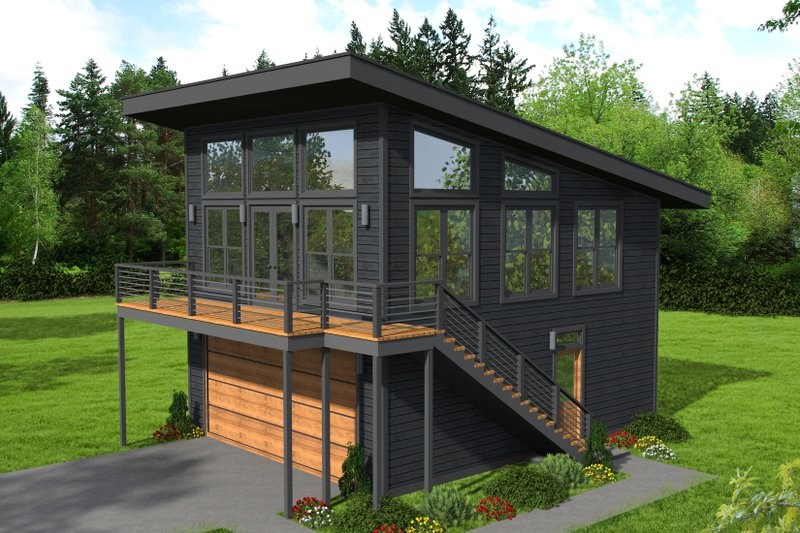 Modern Style House Plan - 1 Beds 1 Baths 650 Sq/Ft Plan #932-40 Exterior - Front Elevation