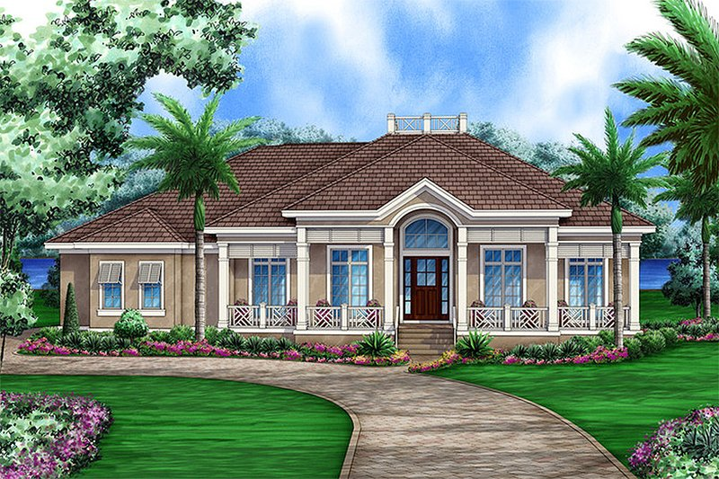 Beach Style House Plan - 4 Beds 4.5 Baths 5396 Sq/Ft Plan #27-485 Exterior - Front Elevation