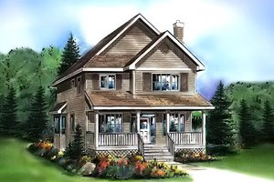 Cottage Exterior - Front Elevation Plan #18-289