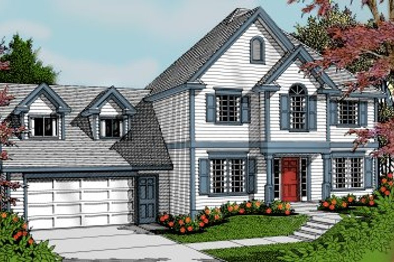 Colonial Exterior - Front Elevation Plan #97-224