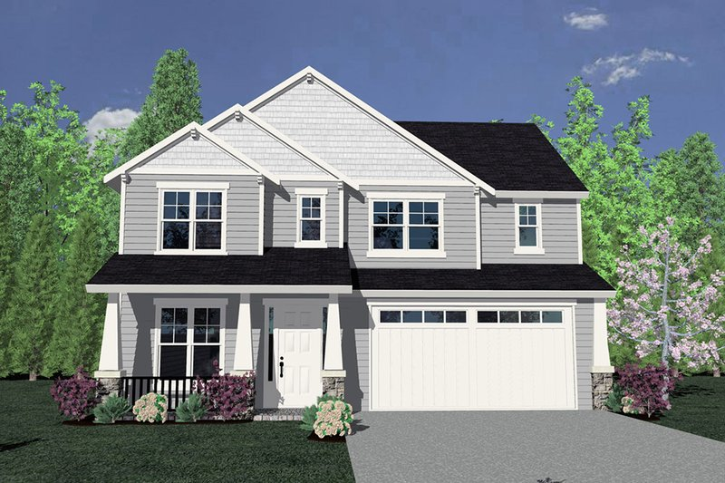 Traditional Style House Plan - 4 Beds 2.5 Baths 2506 Sq/Ft Plan #509-71 Exterior - Front Elevation