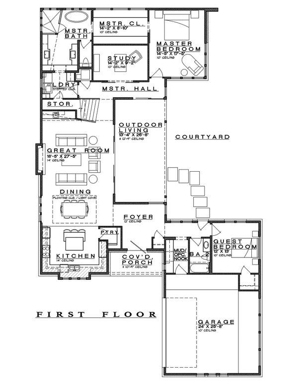 Contemporary Floor Plan - Main Floor Plan Plan #935-14