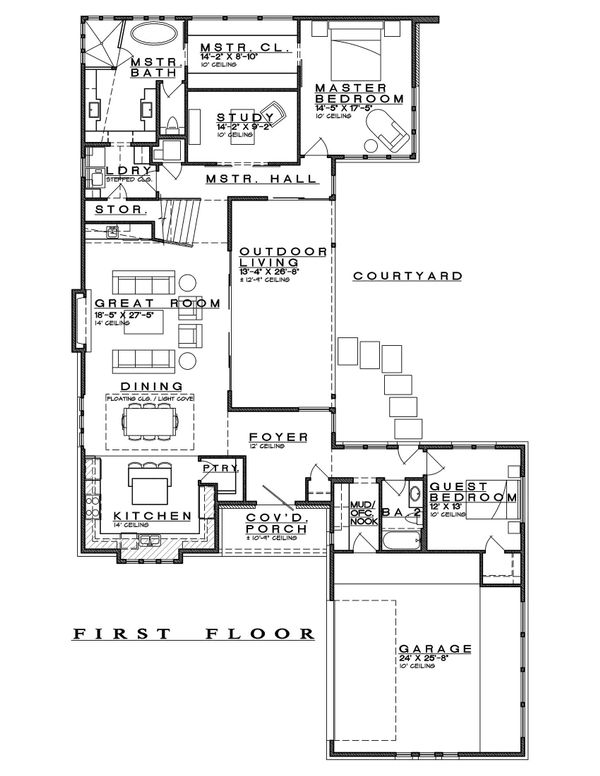 Contemporary Floor Plan - Main Floor Plan Plan #935-14