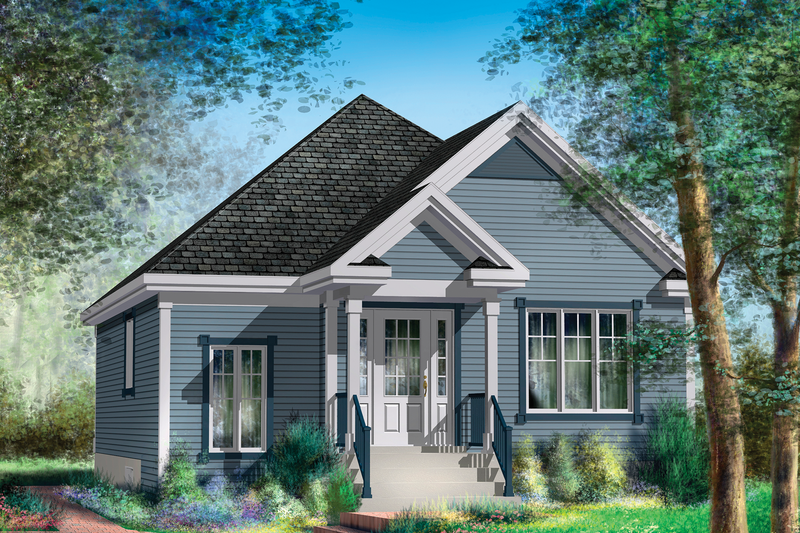 Country Style House Plan - 2 Beds 1 Baths 984 Sq/Ft Plan #25-4647 Exterior - Front Elevation