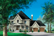 European Style House Plan - 4 Beds 3 Baths 3828 Sq/Ft Plan #25-4631 Exterior - Front Elevation