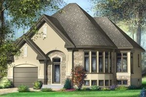 European Exterior - Front Elevation Plan #25-4108