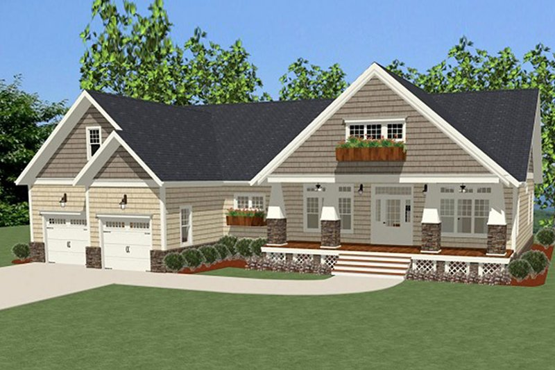Cottage Exterior - Front Elevation Plan #898-43