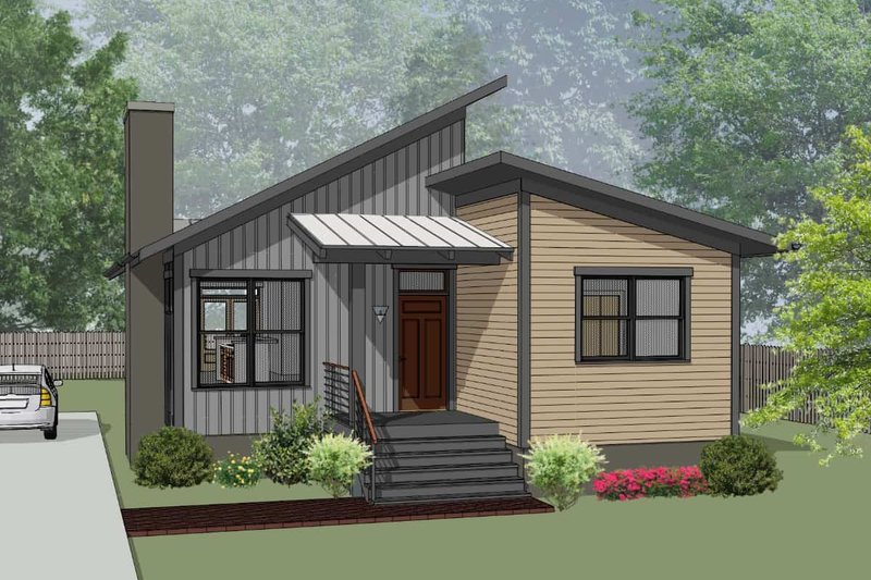 Modern Style House Plan - 3 Beds 2 Baths 1350 Sq/Ft Plan #79-292 Exterior - Front Elevation