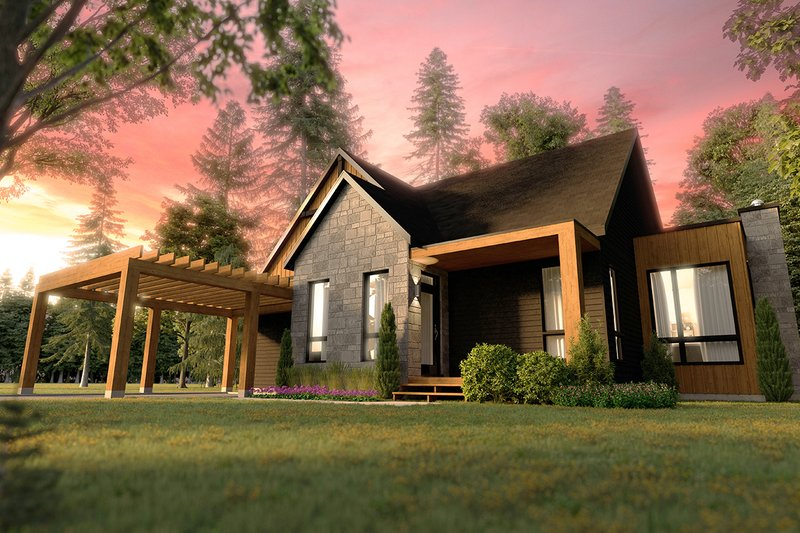 Contemporary Style House Plan - 2 Beds 2 Baths 1323 Sq/Ft Plan #23-2727 Exterior - Front Elevation
