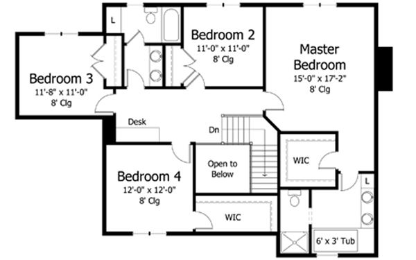 Traditional Floor Plan - Upper Floor Plan Plan #51-411