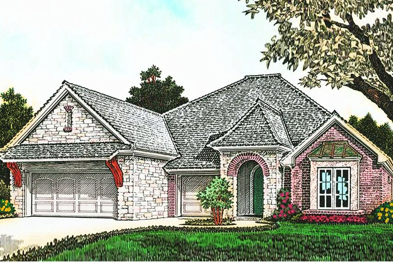 European Style House Plan - 3 Beds 2.5 Baths 2306 Sq/Ft Plan #310-1283 Exterior - Front Elevation