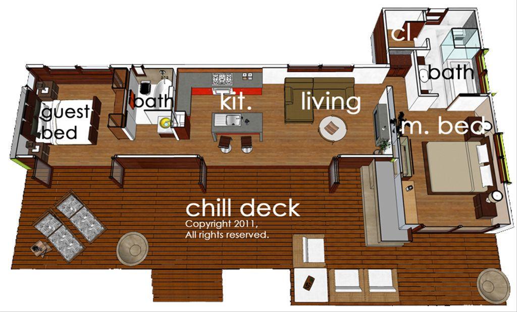 Modern Style House Plan 2 Beds 2 Baths 860 Sq Ft Plan 484 5 Eplans Com