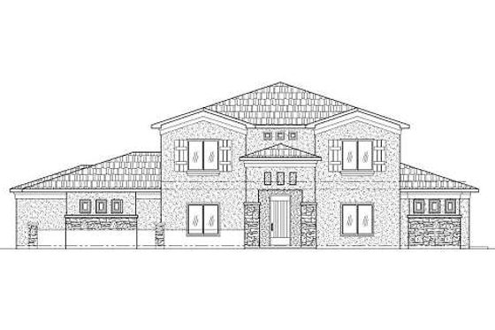 Adobe / Southwestern Exterior - Front Elevation Plan #24-267