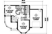 Victorian Style House Plan - 3 Beds 1 Baths 1566 Sq/Ft Plan #25-4694 Floor Plan - Main Floor Plan