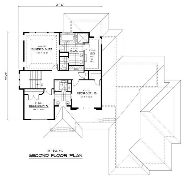 Prairie Floor Plan - Upper Floor Plan Plan #51-283