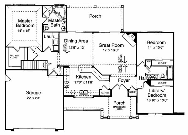 Traditional Floor Plan - Main Floor Plan Plan #46-413