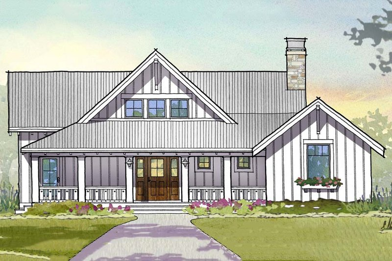 Farmhouse Style House Plan - 3 Beds 3.5 Baths 2597 Sq/Ft Plan #901-110 Exterior - Front Elevation
