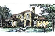 European Style House Plan - 5 Beds 7.5 Baths 6409 Sq/Ft Plan #135-135 Exterior - Front Elevation
