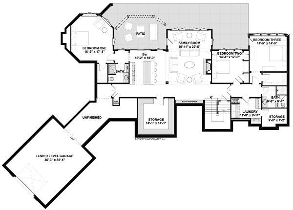 House Plan Design - Traditional Floor Plan - Lower Floor Plan #928-332