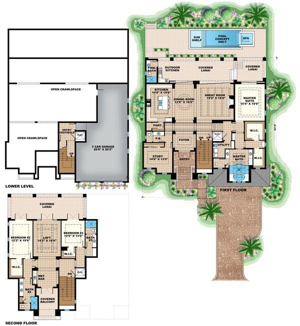 Beach Floor Plan - Main Floor Plan Plan #27-569