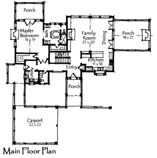 Craftsman Floor Plan - Main Floor Plan Plan #921-11
