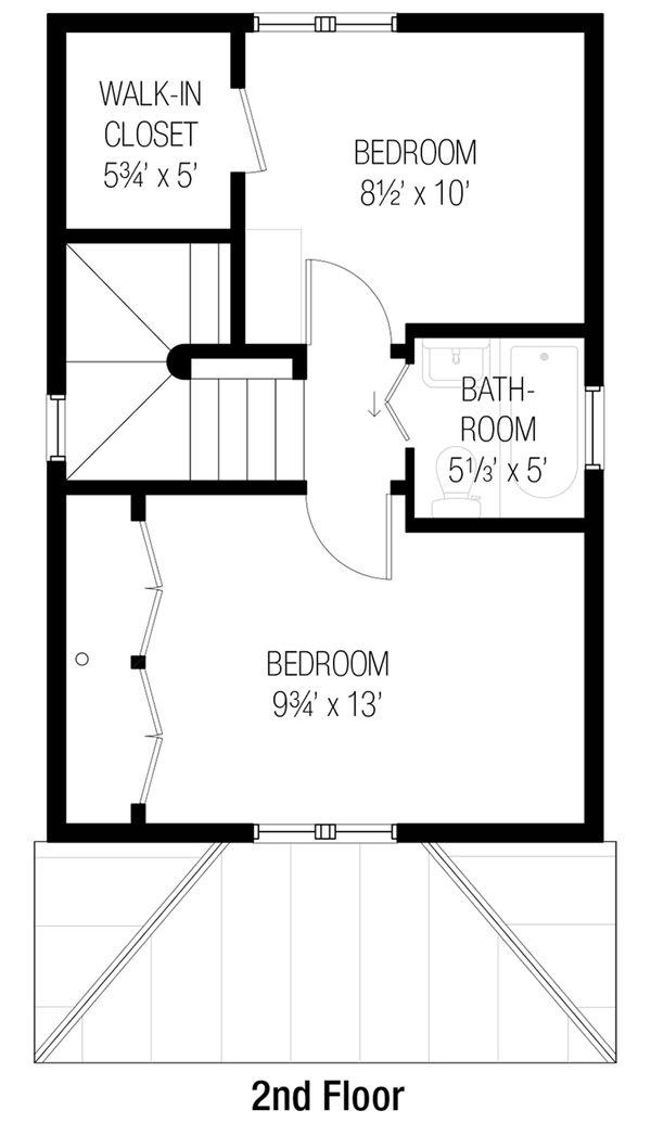 Cottage Style House Plan - 2 Beds 1.5 Baths 746 Sq/Ft Plan #915-5 Floor Plan - Upper Floor Plan