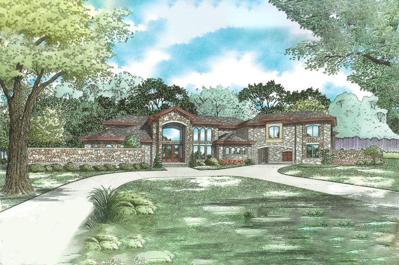 Mediterranean Style House Plan - 5 Beds 9 Baths 8160 Sq/Ft Plan #923-41 Exterior - Front Elevation